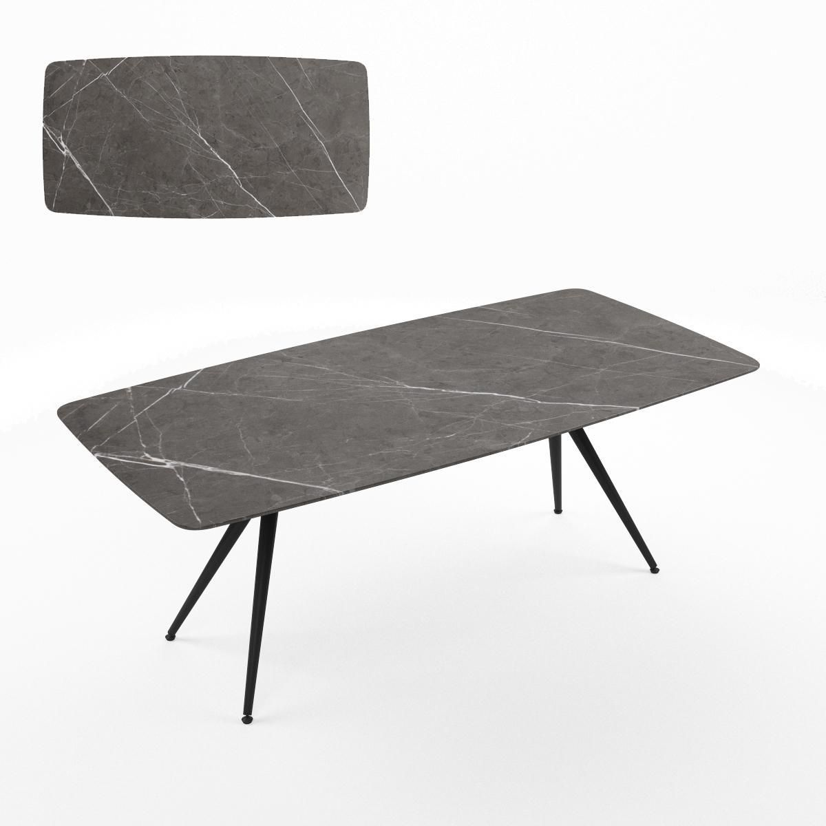 MILAN table. Table top-ceramic plate LAMINAM® glossy Pietra Grey Lucidato. Base: aluminum, steel-Black finish.